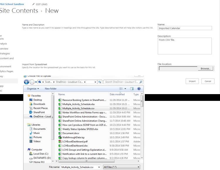 Importing an external calendar(CSV) into SharePoint2