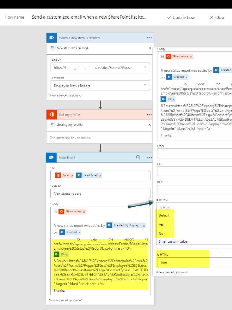 employee status report using microsoftflow and sharepoint online